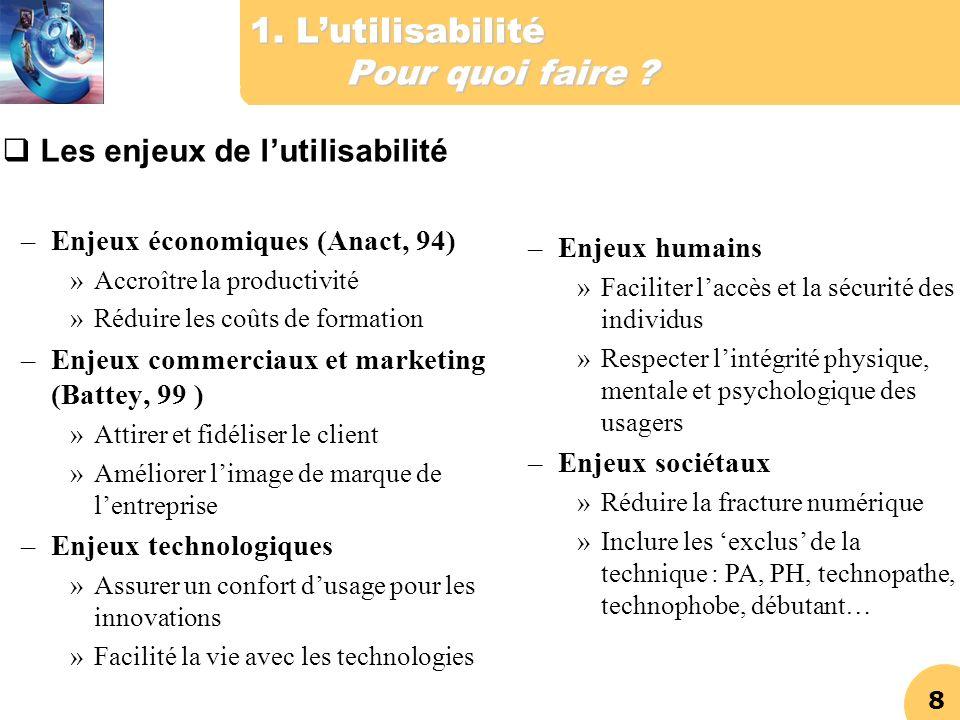 8 1. Lutilisabilité Pour quoi faire ? Les enjeux de lutilisabilité –Enjeux économiques (Anact, 94) »Accroître la productivité »Réduire les coûts de fo