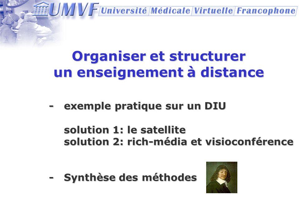 Organiser et structurer un enseignement à distance - exemple pratique sur un DIU solution 1: le satellite solution 2: rich-média et visioconférence -