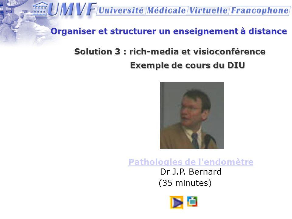 Organiser et structurer un enseignement à distance Solution 3 : rich-media et visioconférence Exemple de cours du DIU Pathologies de l'endomètre Patho