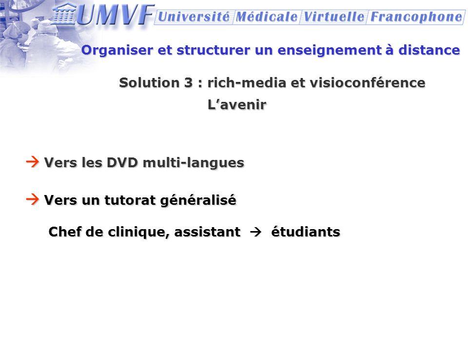 Organiser et structurer un enseignement à distance Solution 3 : rich-media et visioconférence Lavenir Vers les DVD multi-langues Vers les DVD multi-la