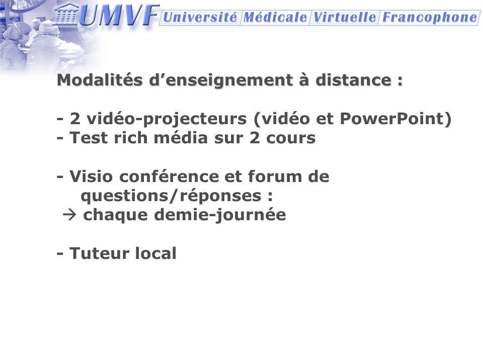 Modalités denseignement à distance : - 2 vidéo-projecteurs (vidéo et PowerPoint) - Test rich média sur 2 cours - Visio conférence et forum de question