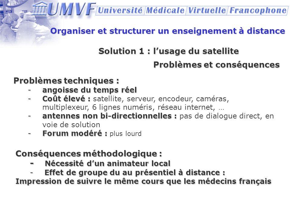 Organiser et structurer un enseignement à distance Solution 1 : lusage du satellite Problèmes et conséquences Problèmes techniques : -angoisse du temp
