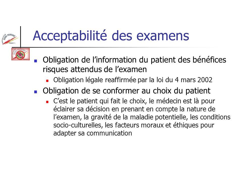 Acceptabilité des examens Obligation de linformation du patient des bénéfices risques attendus de lexamen Obligation légale reaffirmée par la loi du 4