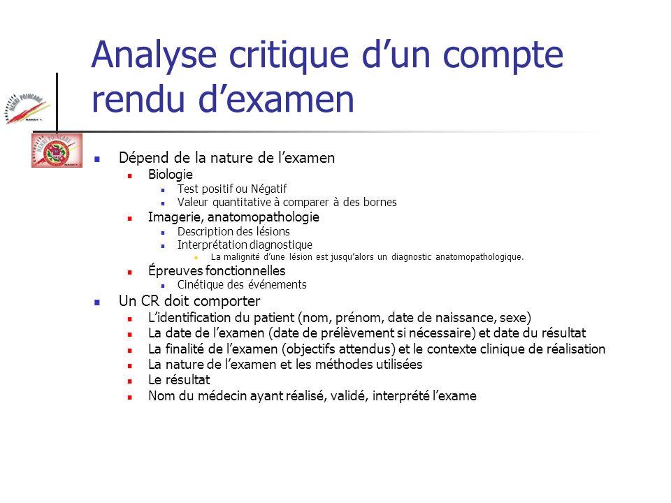 Analyse critique dun compte rendu dexamen Dépend de la nature de lexamen Biologie Test positif ou Négatif Valeur quantitative à comparer à des bornes