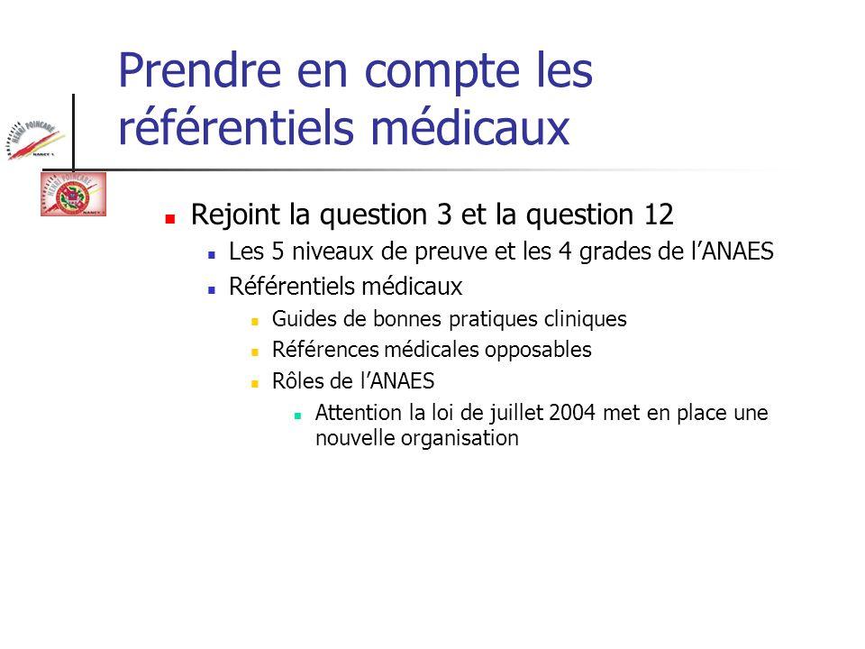 Prendre en compte les référentiels médicaux Rejoint la question 3 et la question 12 Les 5 niveaux de preuve et les 4 grades de lANAES Référentiels méd
