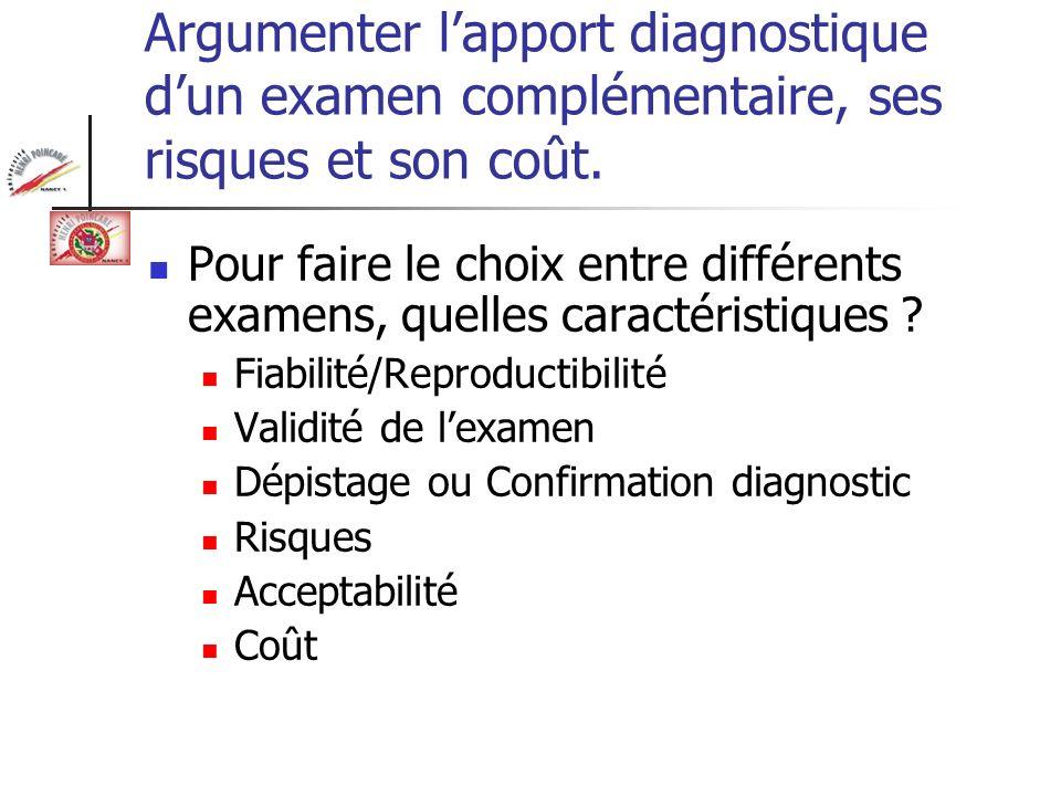 Argumenter lapport diagnostique dun examen complémentaire, ses risques et son coût. Pour faire le choix entre différents examens, quelles caractéristi