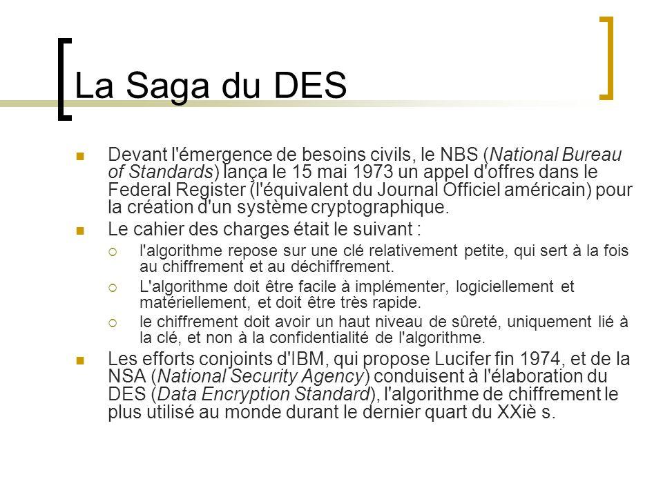 La Saga du DES Devant l émergence de besoins civils, le NBS (National Bureau of Standards) lança le 15 mai 1973 un appel d offres dans le Federal Register (l équivalent du Journal Officiel américain) pour la création d un système cryptographique.