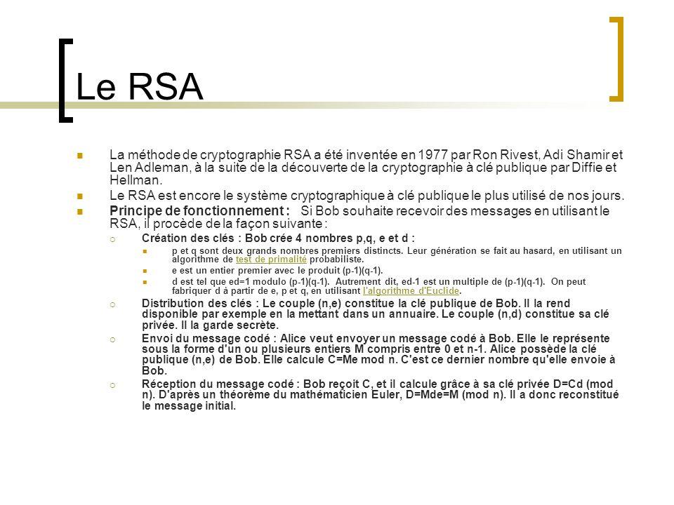 Le RSA La méthode de cryptographie RSA a été inventée en 1977 par Ron Rivest, Adi Shamir et Len Adleman, à la suite de la découverte de la cryptographie à clé publique par Diffie et Hellman.