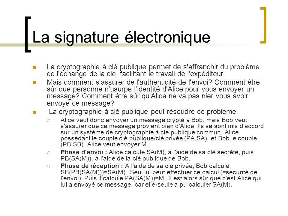 La signature électronique La cryptographie à clé publique permet de s affranchir du problème de l échange de la clé, facilitant le travail de l expéditeur.