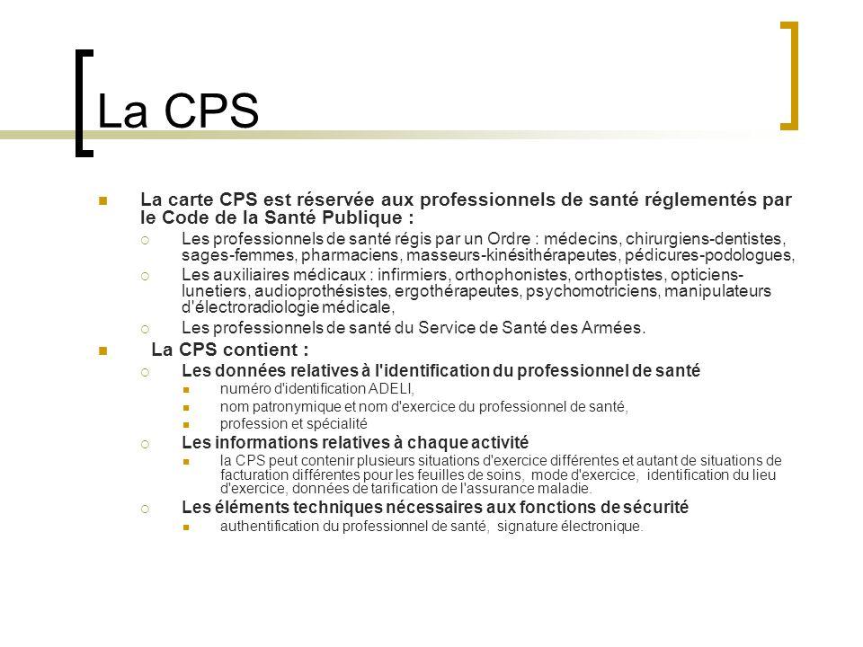 La CPS La carte CPS est réservée aux professionnels de santé réglementés par le Code de la Santé Publique : Les professionnels de santé régis par un Ordre : médecins, chirurgiens-dentistes, sages-femmes, pharmaciens, masseurs-kinésithérapeutes, pédicures-podologues, Les auxiliaires médicaux : infirmiers, orthophonistes, orthoptistes, opticiens- lunetiers, audioprothésistes, ergothérapeutes, psychomotriciens, manipulateurs d électroradiologie médicale, Les professionnels de santé du Service de Santé des Armées.