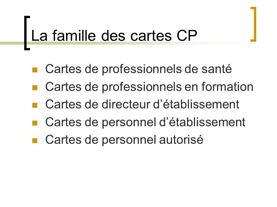 La famille des cartes CP Cartes de professionnels de santé Cartes de professionnels en formation Cartes de directeur détablissement Cartes de personnel détablissement Cartes de personnel autorisé