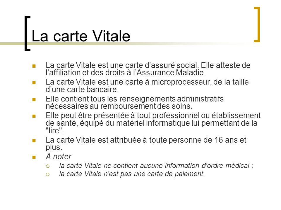 La carte Vitale La carte Vitale est une carte dassuré social.