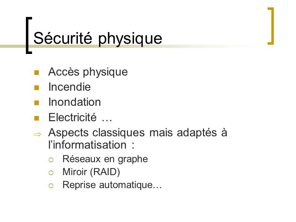 Sécurité physique Accès physique Incendie Inondation Electricité … Aspects classiques mais adaptés à linformatisation : Réseaux en graphe Miroir (RAID) Reprise automatique…
