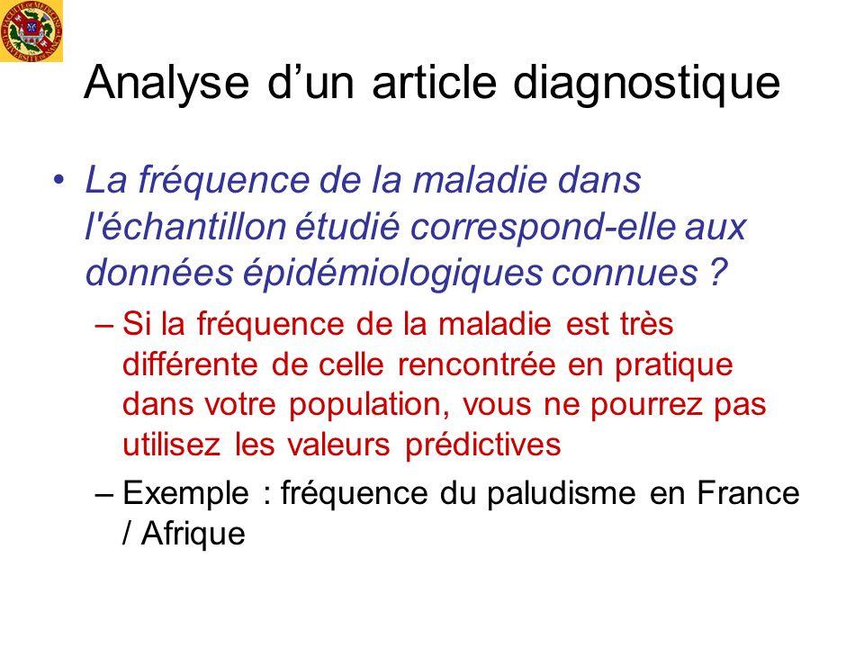 Analyse dun article diagnostique La fréquence de la maladie dans l'échantillon étudié correspond-elle aux données épidémiologiques connues ? –Si la fr