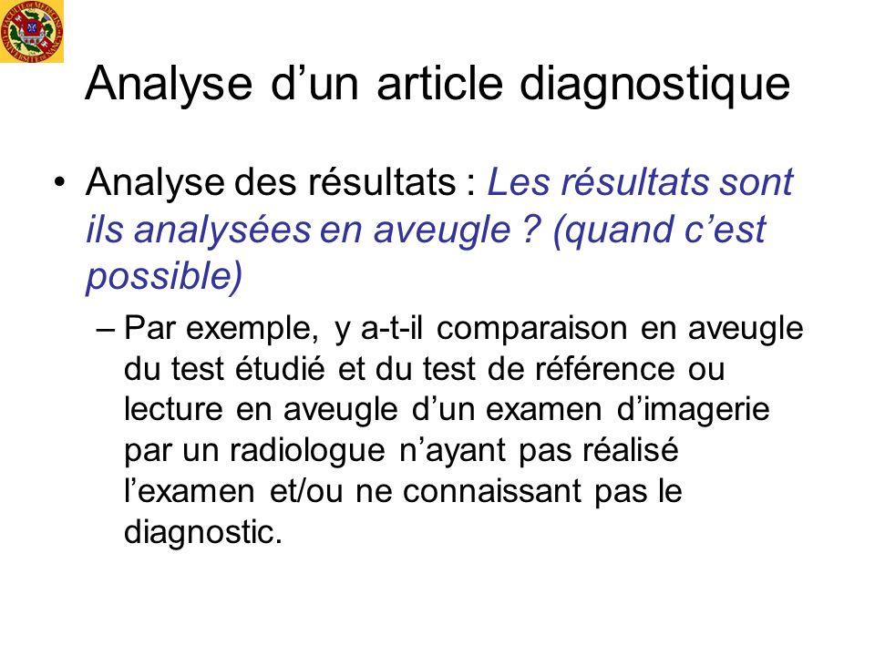 Analyse dun article diagnostique Analyse des résultats : Les résultats sont ils analysées en aveugle ? (quand cest possible) –Par exemple, y a-t-il co