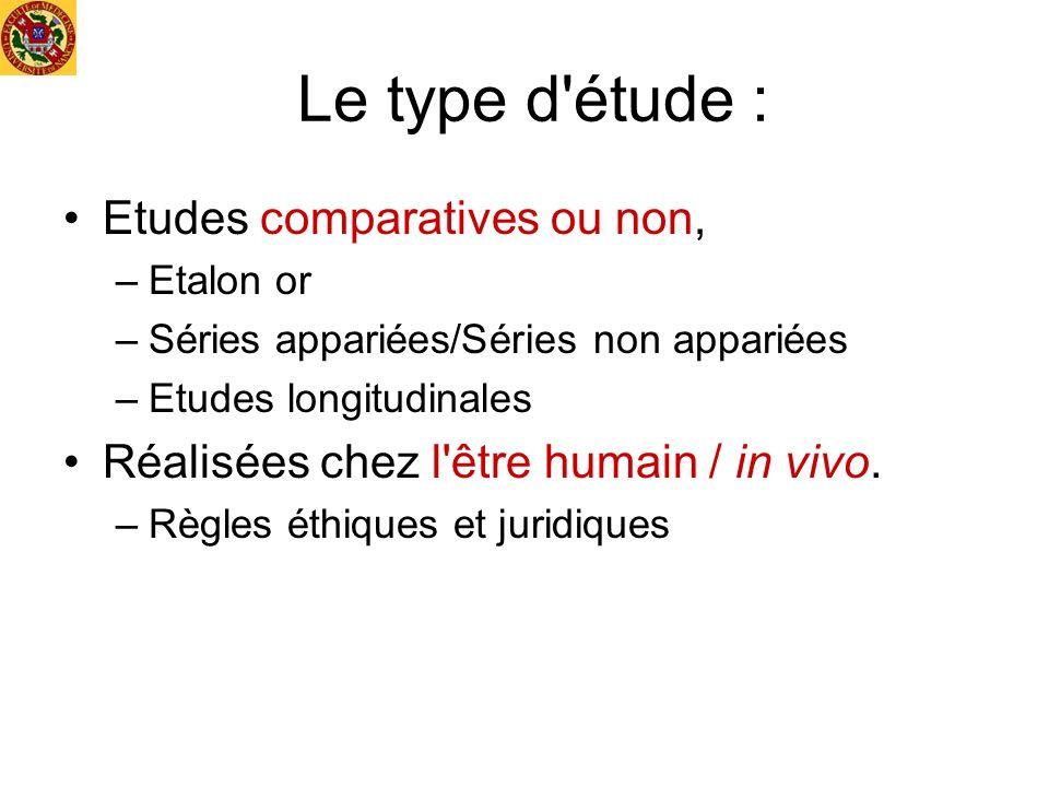 Le type d'étude : Etudes comparatives ou non, –Etalon or –Séries appariées/Séries non appariées –Etudes longitudinales Réalisées chez l'être humain /