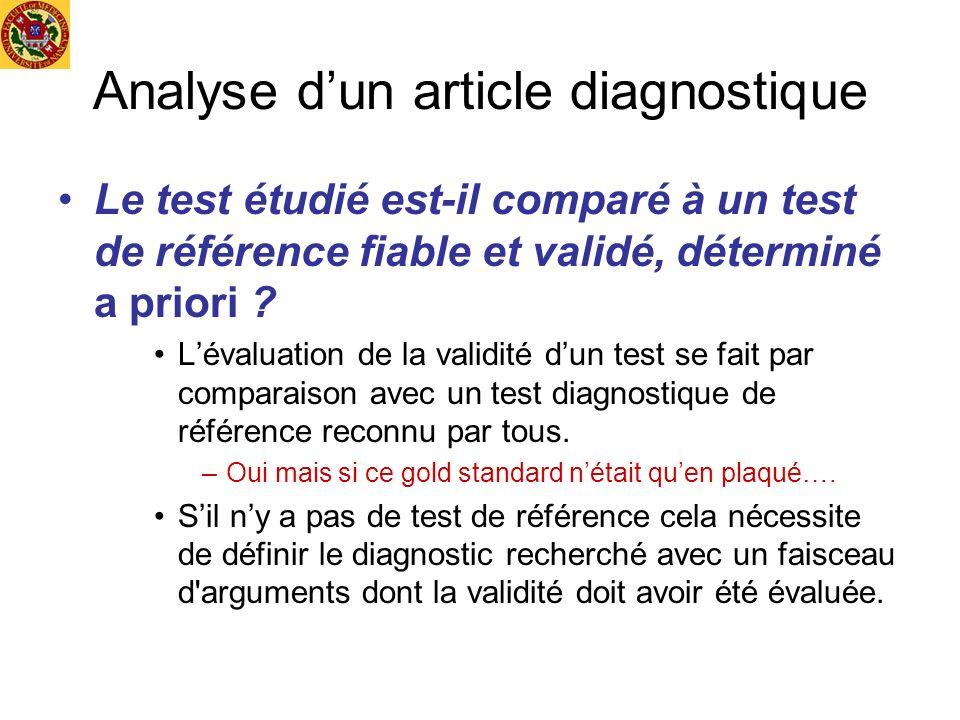 Analyse dun article diagnostique Le test étudié est-il comparé à un test de référence fiable et validé, déterminé a priori ? Lévaluation de la validit