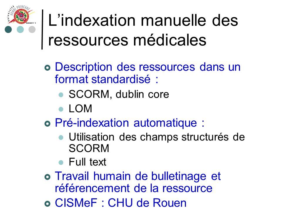Lindexation manuelle des ressources médicales Description des ressources dans un format standardisé : SCORM, dublin core LOM Pré-indexation automatiqu