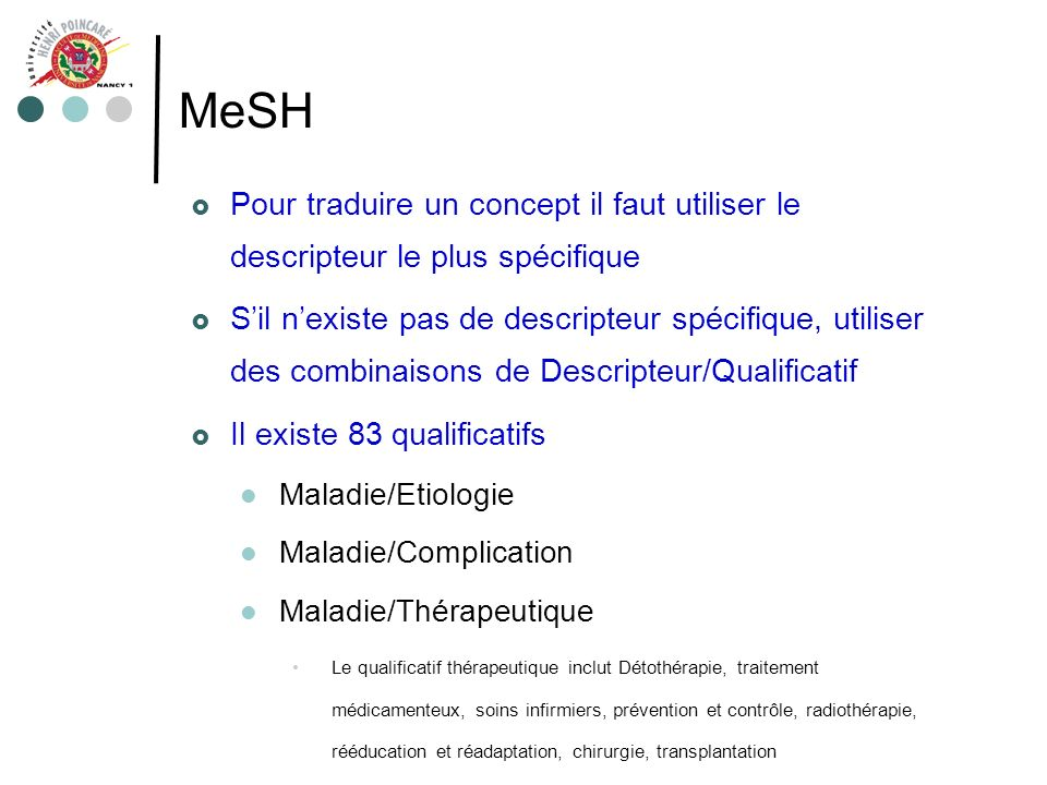 MeSH Pour traduire un concept il faut utiliser le descripteur le plus spécifique Sil nexiste pas de descripteur spécifique, utiliser des combinaisons