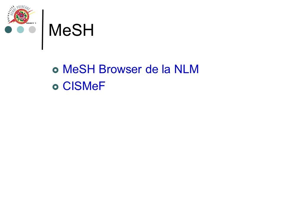 MeSH MeSH Browser de la NLM CISMeF