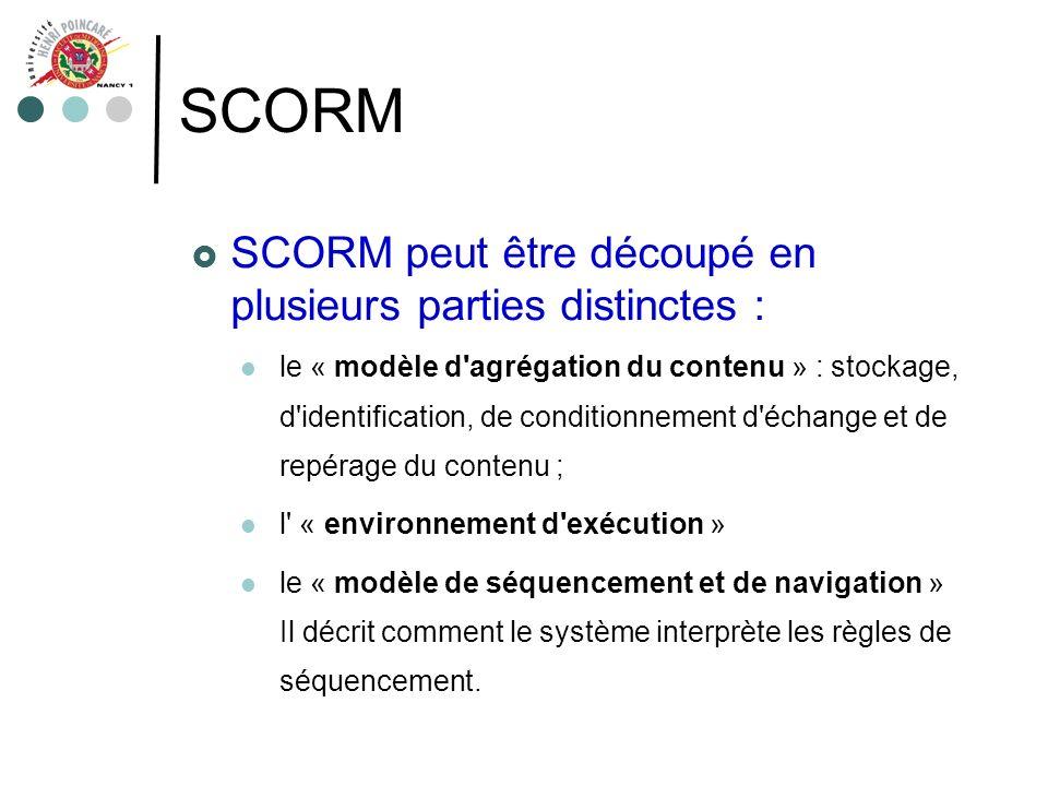 SCORM SCORM peut être découpé en plusieurs parties distinctes : le « modèle d'agrégation du contenu » : stockage, d'identification, de conditionnement