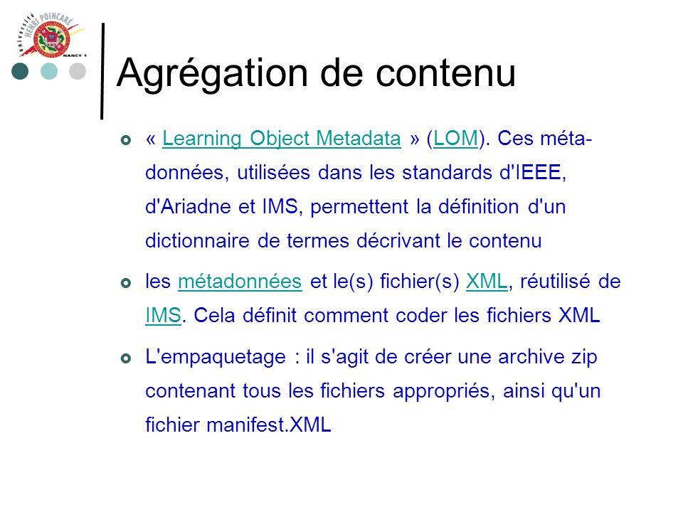 Agrégation de contenu « Learning Object Metadata » (LOM). Ces méta- données, utilisées dans les standards d'IEEE, d'Ariadne et IMS, permettent la défi