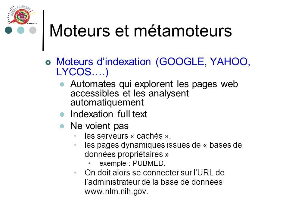 Moteurs et métamoteurs Moteurs dindexation (GOOGLE, YAHOO, LYCOS….) Automates qui explorent les pages web accessibles et les analysent automatiquement
