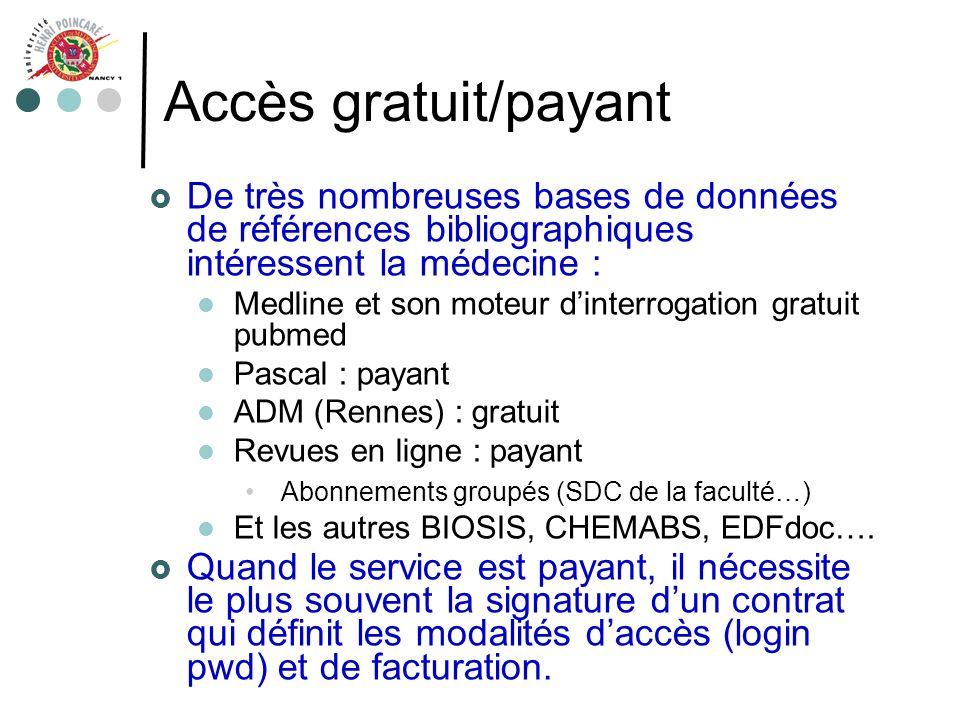 Accès gratuit/payant De très nombreuses bases de données de références bibliographiques intéressent la médecine : Medline et son moteur dinterrogation