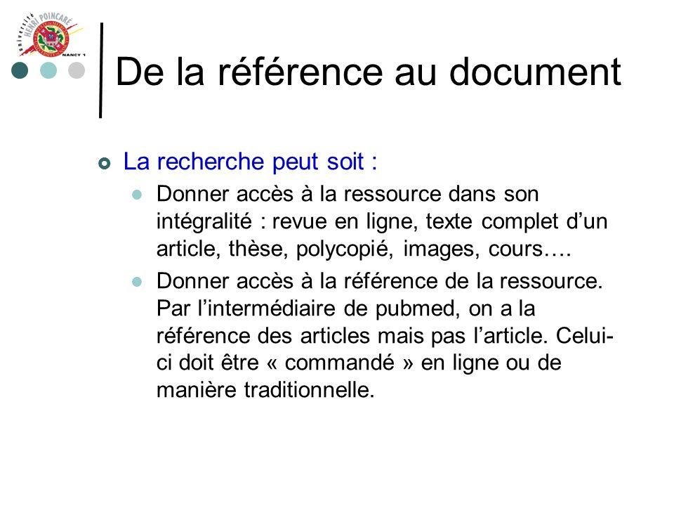 De la référence au document La recherche peut soit : Donner accès à la ressource dans son intégralité : revue en ligne, texte complet dun article, thè