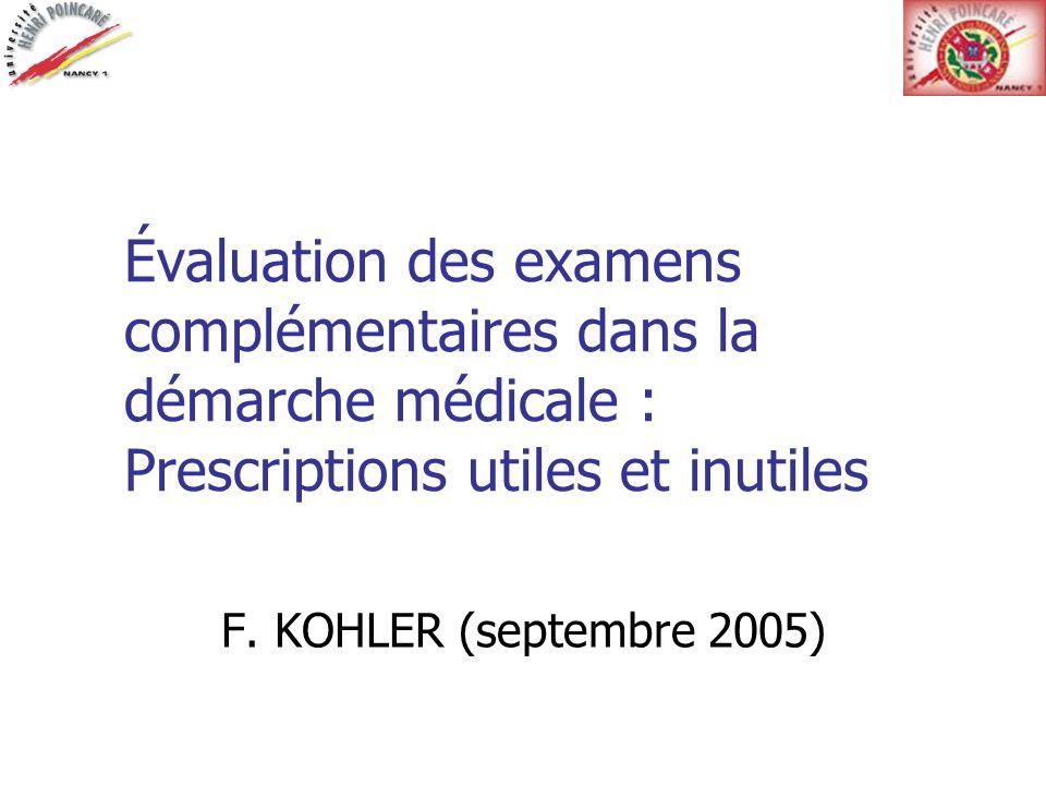 Module 1 : Item 4 (Objectifs) Argumenter lapport diagnostique dun examen complémentaire, ses risques et son coût.