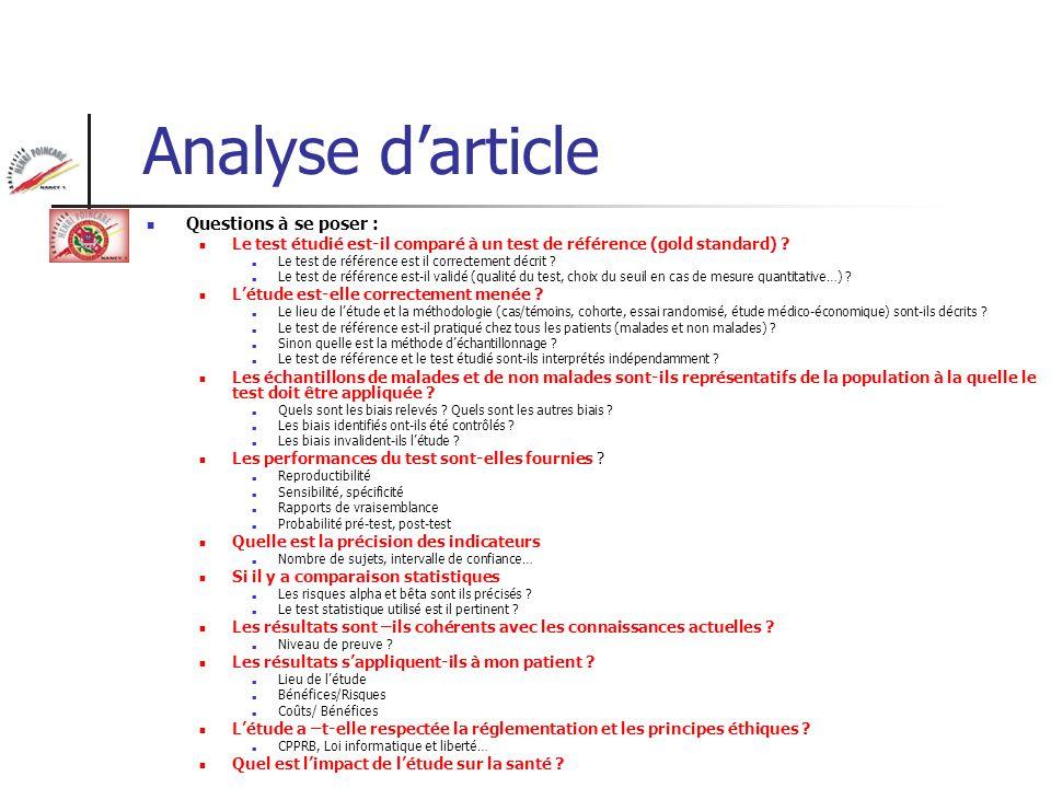 Analyse darticle Questions à se poser : Le test étudié est-il comparé à un test de référence (gold standard) ? Le test de référence est il correctemen