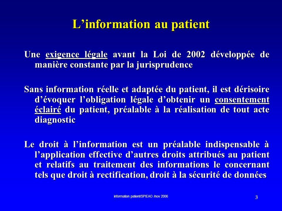 information patient/SPIEAO /nov 2006 24 Lévolution législative….en cas dincapacité du patient à sexprimer La Loi 2002-303 du 4 mars 2002 relative aux droits des malades et à la qualité du système de santé prévoit : Art.