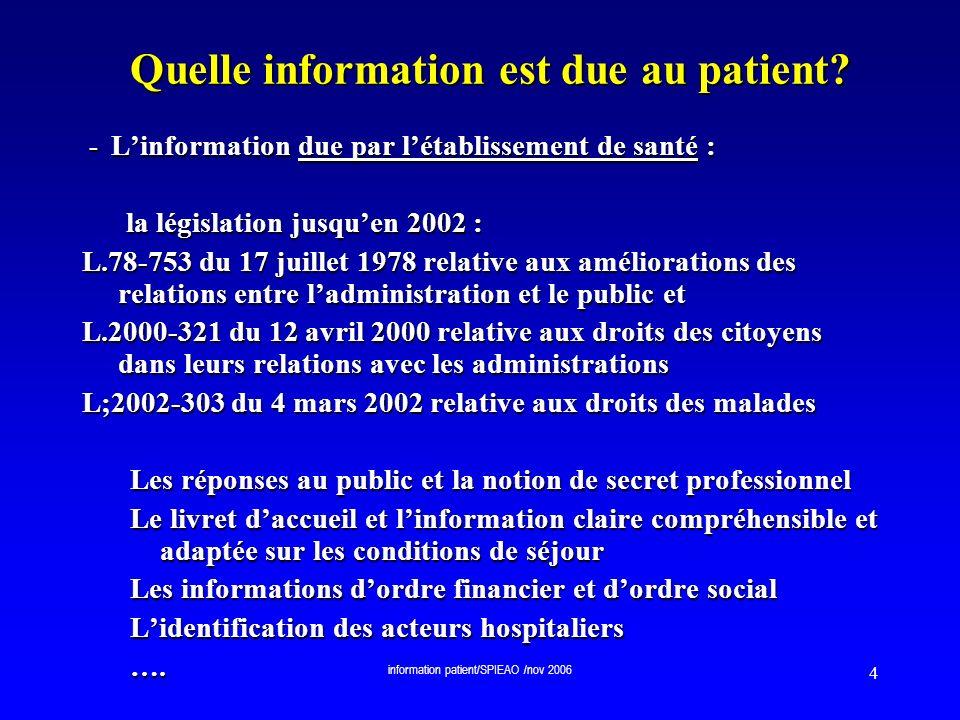 information patient/SPIEAO /nov 2006 55 Le dossier médical personnel Un DMP sécurisé, constitué de lhistorique exhaustif du patient, centralisé en un point unique daccès.