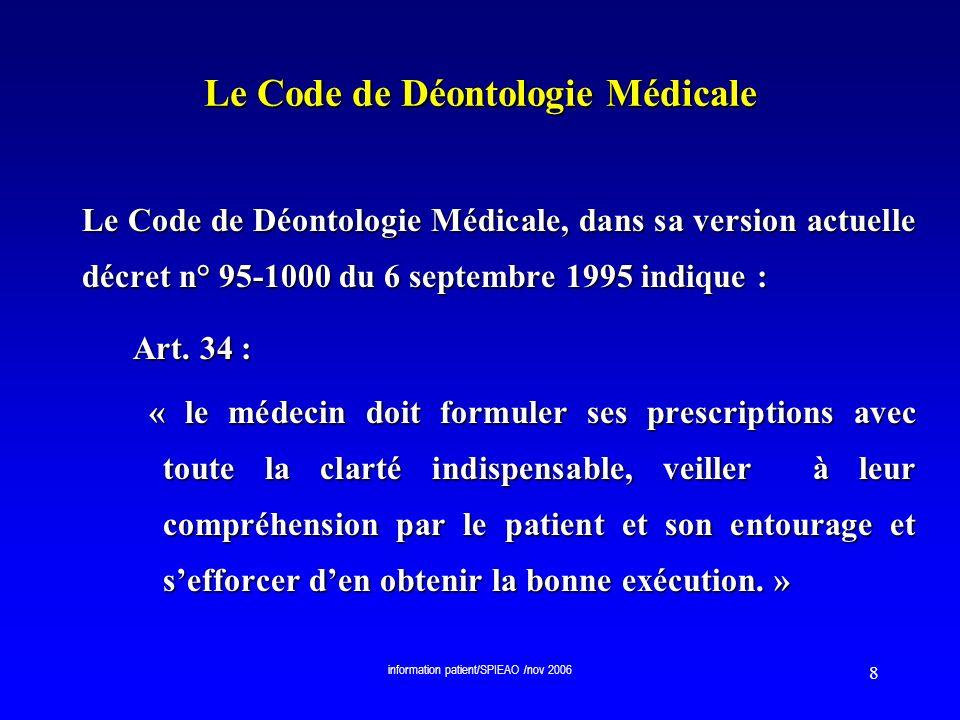 information patient/SPIEAO /nov 2006 9 Le Code de Déontologie Médicale Le Code de Déontologie Médicale (décret n° 95-1000 du 6 septembre 1995) indique : Art.