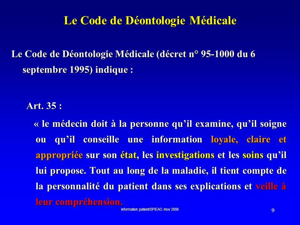 information patient/SPIEAO /nov 2006 10 Le Code de Déontologie Médicale Le Code de Déontologie Médicale (décret n° 95-1000 du 6 septembre 1995) indique : Art.
