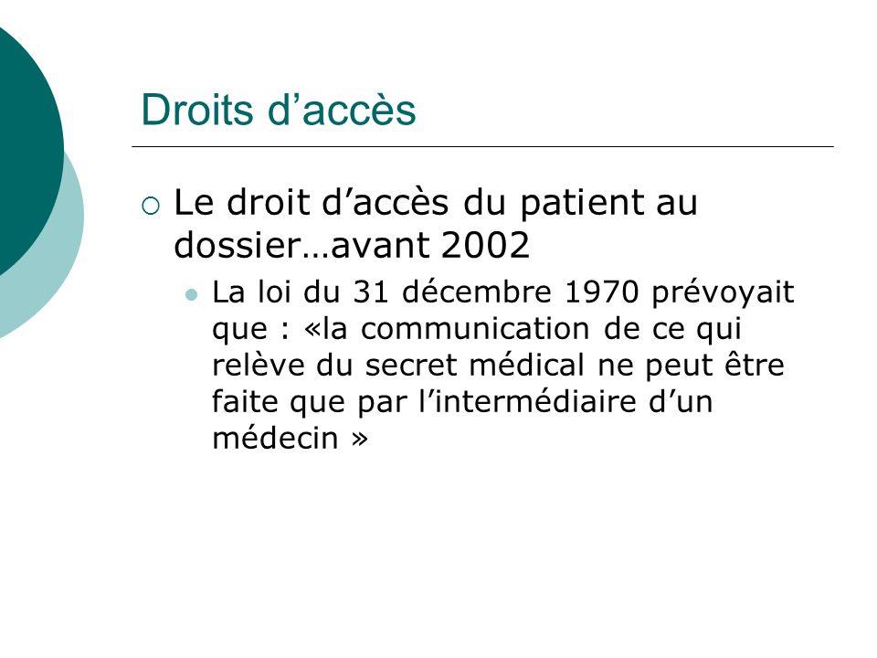 Droits daccès Le droit daccès du patient au dossier…avant 2002 La loi du 31 décembre 1970 prévoyait que : «la communication de ce qui relève du secret médical ne peut être faite que par lintermédiaire dun médecin »