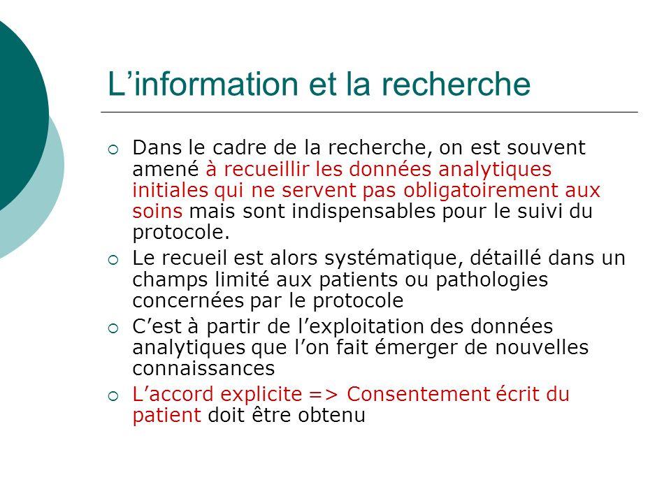 Contenu et communication du dossier II.