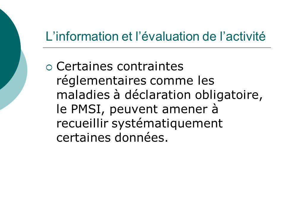 Linformation et lévaluation de lactivité Certaines contraintes réglementaires comme les maladies à déclaration obligatoire, le PMSI, peuvent amener à recueillir systématiquement certaines données.