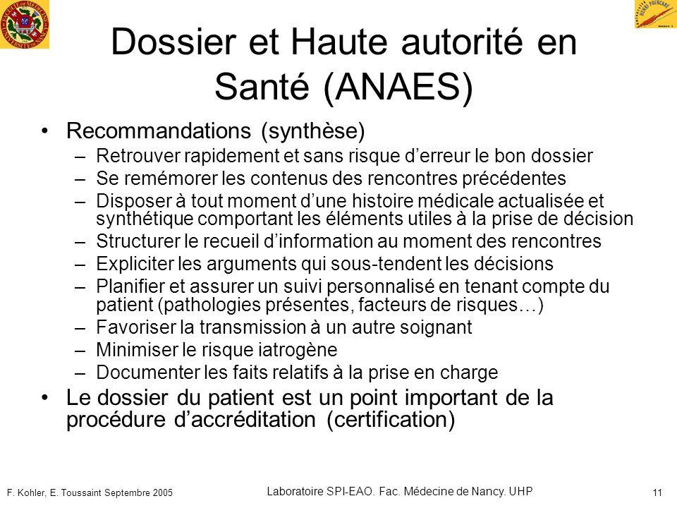 F. Kohler, E. Toussaint Septembre 2005 Laboratoire SPI-EAO. Fac. Médecine de Nancy. UHP 11 Dossier et Haute autorité en Santé (ANAES) Recommandations
