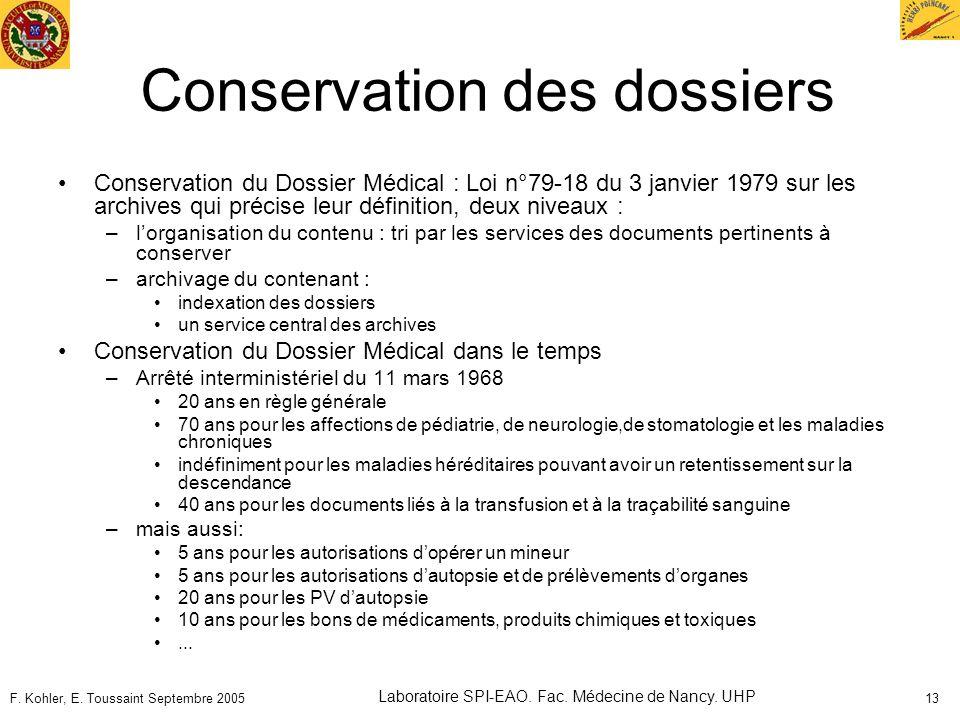 F. Kohler, E. Toussaint Septembre 2005 Laboratoire SPI-EAO. Fac. Médecine de Nancy. UHP 13 Conservation des dossiers Conservation du Dossier Médical :