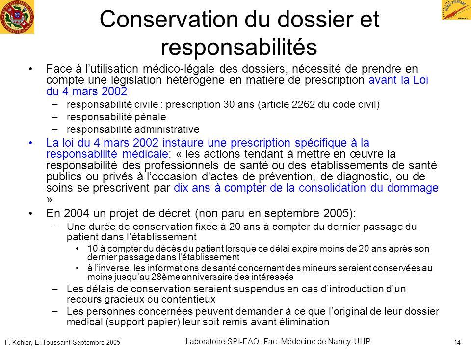 F. Kohler, E. Toussaint Septembre 2005 Laboratoire SPI-EAO. Fac. Médecine de Nancy. UHP 14 Conservation du dossier et responsabilités Face à lutilisat