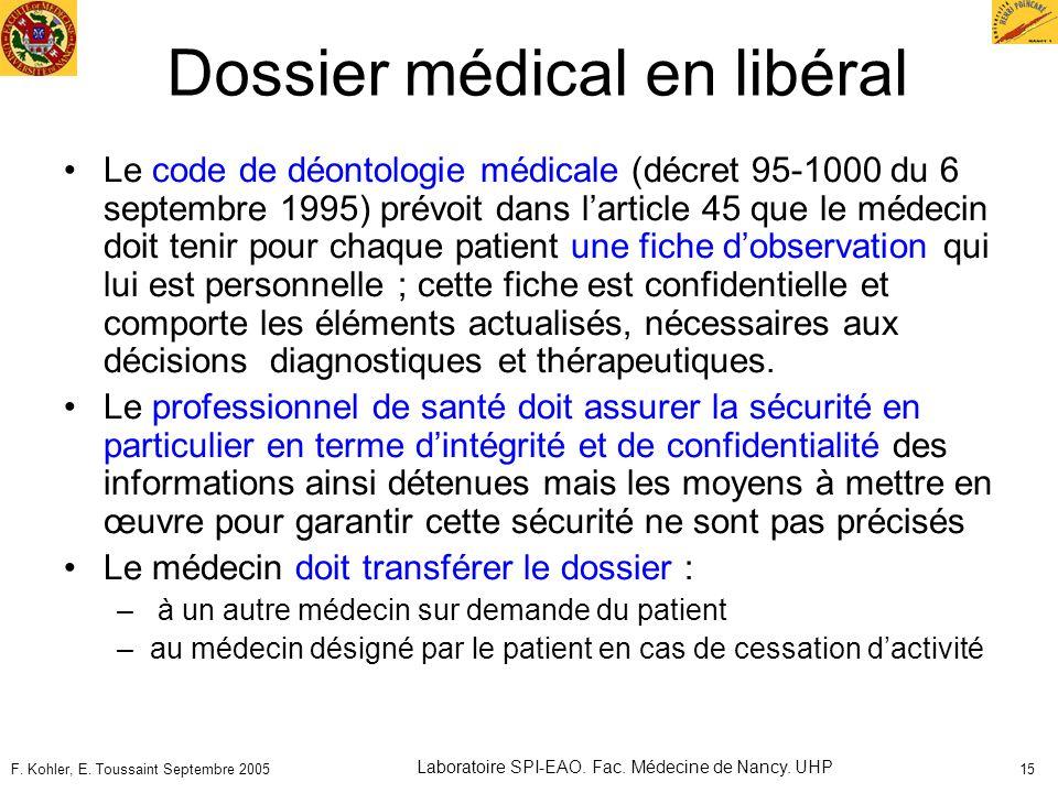 F. Kohler, E. Toussaint Septembre 2005 Laboratoire SPI-EAO. Fac. Médecine de Nancy. UHP 15 Dossier médical en libéral Le code de déontologie médicale