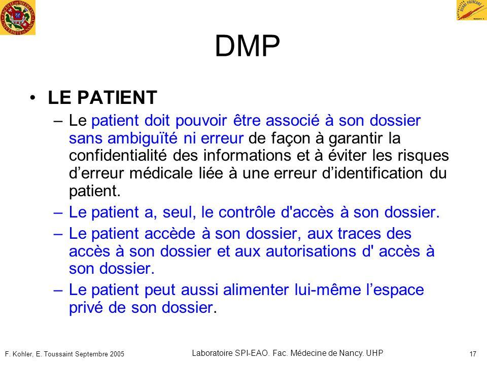 F. Kohler, E. Toussaint Septembre 2005 Laboratoire SPI-EAO. Fac. Médecine de Nancy. UHP 17 DMP LE PATIENT –Le patient doit pouvoir être associé à son