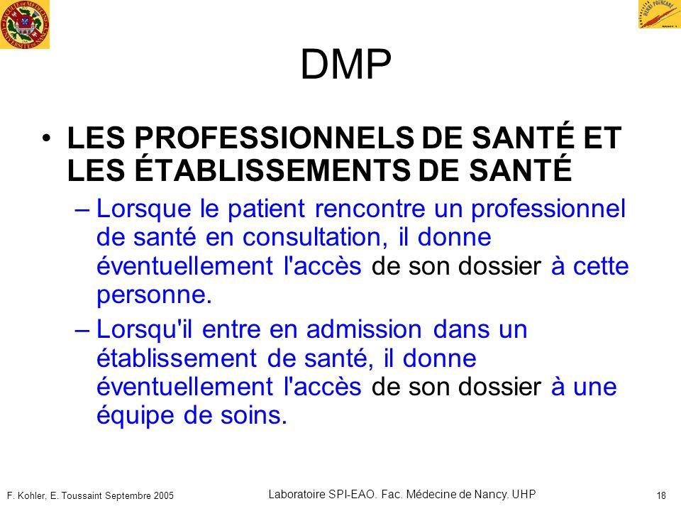 F. Kohler, E. Toussaint Septembre 2005 Laboratoire SPI-EAO. Fac. Médecine de Nancy. UHP 18 DMP LES PROFESSIONNELS DE SANTÉ ET LES ÉTABLISSEMENTS DE SA
