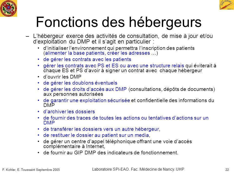F. Kohler, E. Toussaint Septembre 2005 Laboratoire SPI-EAO. Fac. Médecine de Nancy. UHP 22 Fonctions des hébergeurs –Lhébergeur exerce des activités d