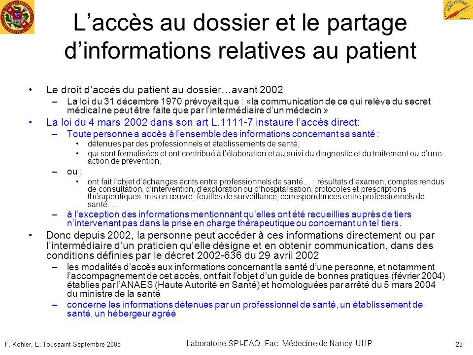 F. Kohler, E. Toussaint Septembre 2005 Laboratoire SPI-EAO. Fac. Médecine de Nancy. UHP 23 Laccès au dossier et le partage dinformations relatives au