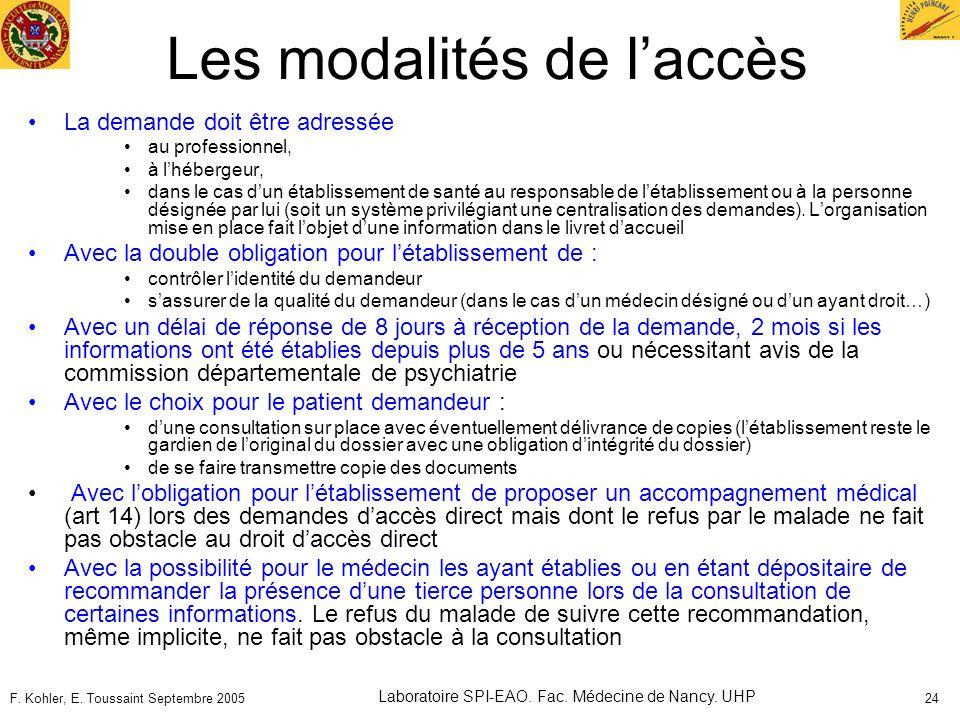F. Kohler, E. Toussaint Septembre 2005 Laboratoire SPI-EAO. Fac. Médecine de Nancy. UHP 24 Les modalités de laccès La demande doit être adressée au pr