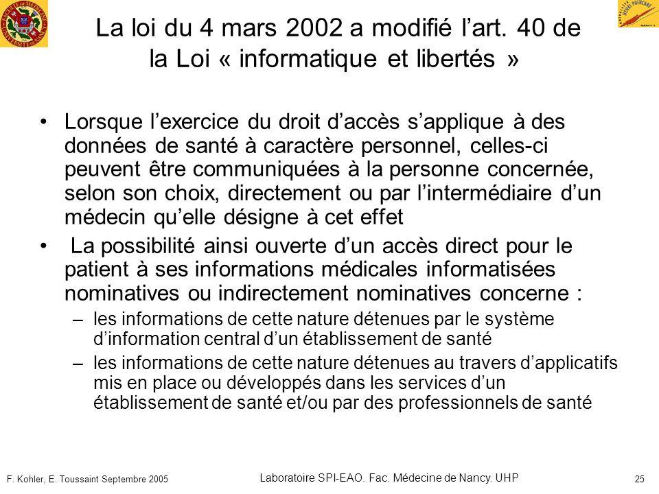 F. Kohler, E. Toussaint Septembre 2005 Laboratoire SPI-EAO. Fac. Médecine de Nancy. UHP 25 La loi du 4 mars 2002 a modifié lart. 40 de la Loi « inform