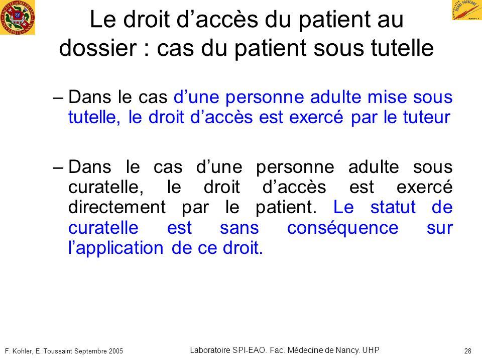 F. Kohler, E. Toussaint Septembre 2005 Laboratoire SPI-EAO. Fac. Médecine de Nancy. UHP 28 Le droit daccès du patient au dossier : cas du patient sous