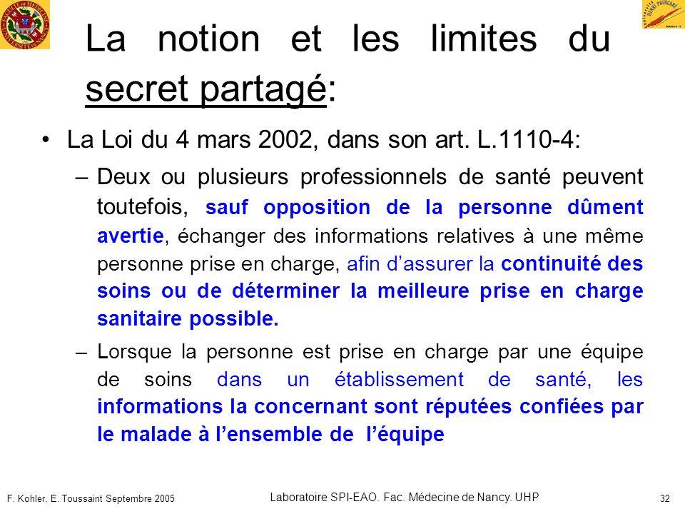 F. Kohler, E. Toussaint Septembre 2005 Laboratoire SPI-EAO. Fac. Médecine de Nancy. UHP 32 La notion et les limites du secret partagé: La Loi du 4 mar